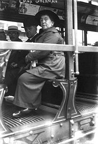 Goldman on a streetcar in 1917, perhaps during a strike or demonstration.