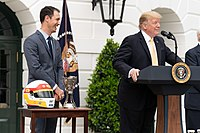 Logano with President Donald Trump on the White House south lawn in 2019