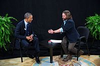 Zach Galifianakis interviewing Barack Obama for Between Two Ferns