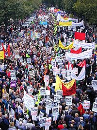 Anti-war protest in London, September 2002. Organised by the British Stop the War Coalition, up to 400,000 took part in the protest.