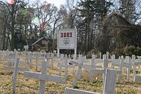 A memorial in North Carolina in December 2007; U.S. casualty count can be seen in the background.