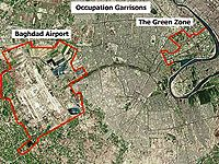Aerial view of the Green Zone, Baghdad International Airport, and the contiguous Victory Base Complex in Baghdad