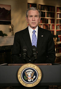 President George W. Bush announces the new strategy on Iraq from the White House Library, 10 January 2007.