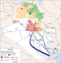 Map of the invasion routes and major operations/battles of the Iraq War through 2007
