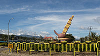 The roundabout in Tambunan with the sculpture of Sompoton, the main musical instrument of Sabah.