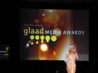 Presenter on stage at 19th GLAAD Media Awards