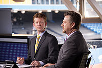 Jamie Campbell and Gregg Zaun providing Sportsnet coverage of a Toronto Blue Jays game in 2011