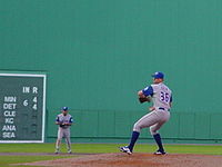 Bob File pitching for the Blue Jays at Fenway Park during the 2001 season.