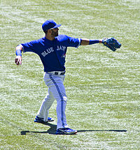 Jose Bautista warming up prior to a game against the Los Angeles Angels during the 2012 season.
