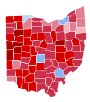 Map detailing the Ohio counties that Portman received pluralities within (shown in red) during the 2016 U.S. Senate election