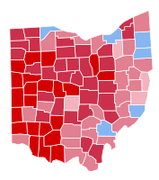 Map detailing the Ohio counties that Portman received pluralities within (shown in red) during the 2010 U.S. Senate election