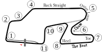 """The full Long Course (1971–1991) including the """"Boot""""; the 1971 Six Hours layout is illustrated with the gray connection after the Outer Loop"""