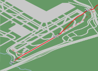 Path of Flight 358. Dotted lines indicate the normal landing trajectory.
