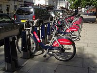 Santander Cycle Hire near Victoria in Central London