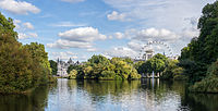 alt=Lake with London Eye in the background St. James's Park lake with the London Eye in the distance