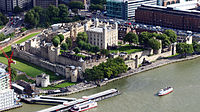 The Tower of London, a medieval castle, dating in part to 1078