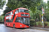 A red double decker bus.