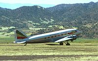 An Ethiopian Airlines Douglas DC-3 at Lalibela Airport in 1974.