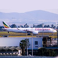 An Ethiopian Airlines Airbus A350-900 at Bole International Airport in 2020