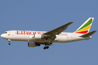 An Ethiopian Airlines Boeing 767-200ER on short final to Dubai International Airport in 2006.