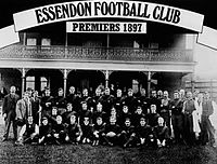 """won the inaugural VFL premiership by finishing on top of the 1897 round robin finals ladder. A new finals system was implemented during the 1898 VFL season in order that a final match, or """"Grand Final"""", determine the premiers."""