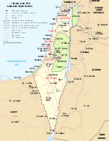 Map of Israel showing the West Bank, the Gaza Strip, and the Golan Heights