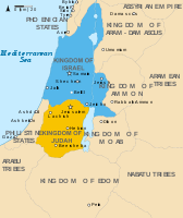 Map of Israel and Judah in the 9th century BCE