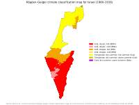 Köppen climate classification map of Israel and the Golan Heights