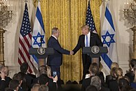 U.S. President Donald Trump and Israeli Prime Minister Benjamin Netanyahu during their press conference in the White House, 2017.
