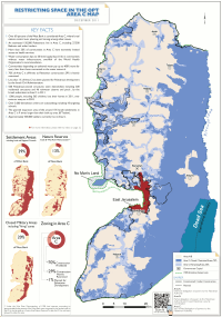 Area C of the West Bank, controlled by Israel under Oslo Accords, in blue and red, in December 2011