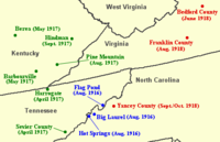 "Locations in Southern and Central Appalachia visited by the British folklorist Cecil Sharp in 1916 (blue), 1917 (green), and 1918 (red). Sharp sought ""old world"" English and Scottish ballads passed down to the region's inhabitants from their British ancestors. He collected hundreds of such ballads, the most productive areas being the Blue Ridge Mountains of North Carolina and the Cumberland Mountains of Kentucky."