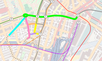 Silver Line Phase III alternatives, showing the original 4 alignments plus the Charles Street Modified (CSM) alignment. The preferred route at the time of the project's cancellation was the CSM alignment (pink) feeding into the core tunnel (green).
