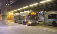 A 40-foot Silver Line trolleybus at Courthouse station in 2005. These buses were briefly used until the dual-mode buses entered service.