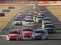 The start of a race at Queensland Raceway in 2011.