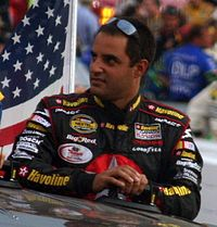 Juan Pablo Montoya (pictured in 2007) scored his fifth Sprint Cup Series career pole position, with a lap time of 51.863 seconds.