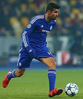 Costa in action at the 2015–16 Champions League group stage match against Dynamo Kyiv in October 2015