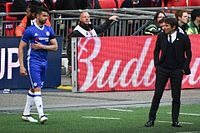 Costa with manager Antonio Conte during the 2017 FA Cup semi-final against Tottenham Hotspur.