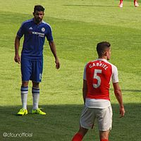 Diego Costa eyeballs Gabriel. The latter would be the recipient of a red card later rescinded, while the former was charged with violent conduct.