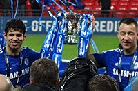 Goalscorers Costa and John Terry celebrating Chelsea's victory in the 2015 Football League Cup Final.