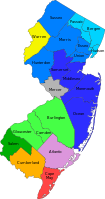 Metropolitan statistical areas and divisions of New Jersey. The New York City Metropolitan Area includes the counties shaded in blue hues, as well as Mercer and Warren counties, the latter representing part of the Lehigh Valley. Counties shaded in green hues, as well as Atlantic, Cape May, and Cumberland counties, belong to the Philadelphia Metropolitan Area.