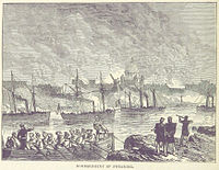 An illustration of the British bombardment of Suomenlinna, from p. 152 of the 1873 book British Battles on Land and Sea by James Grant.