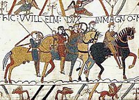 The Bayeux Tapestry depicts the Battle of Hastings, 1066, and the events leading to it.
