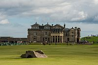 St Andrews, Scotland, the home of golf. The standard 18 hole golf course was created at St Andrews in 1764.