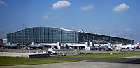 Heathrow Terminal 5 building. London Heathrow Airport is one of the busiest airports by international passenger traffic worldwide.