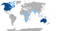 The English-speaking world. States and territories in dark blue have a majority of native English or English Creole speakers, while those where English is an official but not a majority language are shaded in light blue. English is one of the main working languages of the European Union and the United Nations.