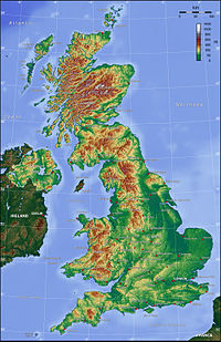 The United Kingdom showing hilly regions to north and west
