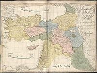 """The 1803 Cedid Atlas, showing the area today known as Iraq divided between """"Al Jazira"""" (pink), """"Kurdistan"""" (blue), """"Iraq"""" (green), and """"Al Sham"""" (yellow)."""