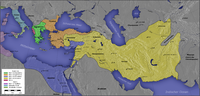 The Greek-ruled Seleucid Empire (in yellow) with capital in Seleucia on the Tigris, north of Babylon.