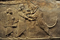 Relief showing a lion hunt, from the north palace of Nineveh, 645–635 BC.