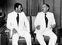 Ba'athist era presidents Hassan al-Bakr and Saddam Hussein in 1978.